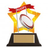 Mini Star Acrylic Rugby Trophy 10CM (100MM) - AC19686A