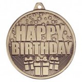 Antique Gold Cascade Happy Birthday Stamped Iron Medal 5CM 50MM - MM19036G